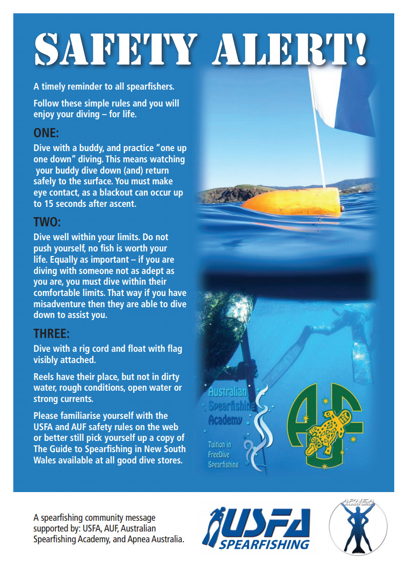 A timely reminder to all spearfishers. Follow these simple rules and you will enjoy your diving – for life.