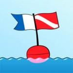 Alpha Flag (left), Diver Down Flag (right)